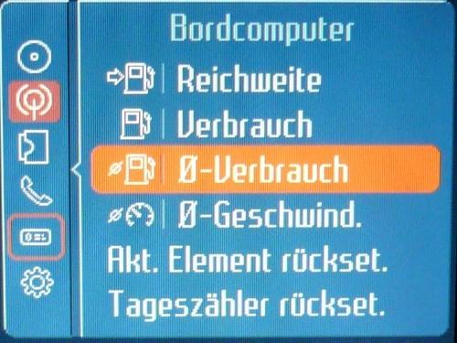 Bordcomputer Menü Anzeige auf dem Convers+.