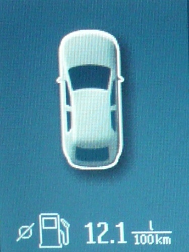 Anzeige des Durchschnittsverbrauchs auf dem Bildschirm des Convers+.