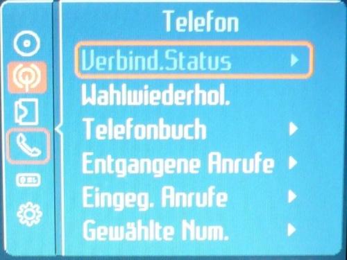 Telefonmenü in Convers+.