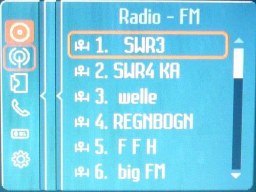 Liste der gespeicherten Radiosender.