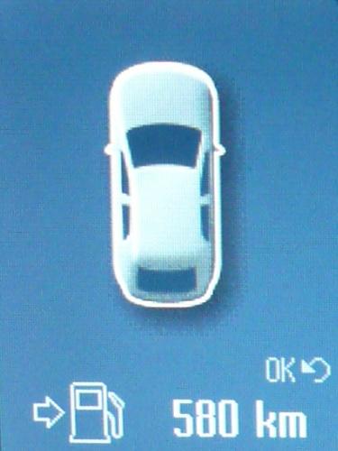 Restkilometeranzeige auf dem Bildschirm des Convers+.