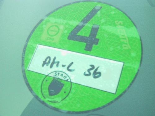 Grüne Feinstaubplakette.